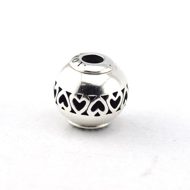 925 - серебристо-ювелирные небольшое отверстие сущность бусины сведению любовь Fit пандора тоньше прелести браслет мода DIY