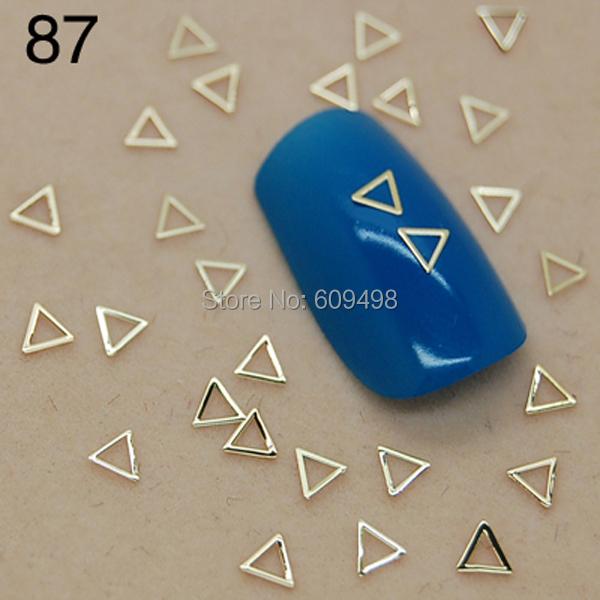 T87 800pcs/lot Gold Triangle Skeleton Shape DIY acrylic 3D metal nail Jewelry Decorations/Beauty Accessory Nails Wholesales(China (Mainland))