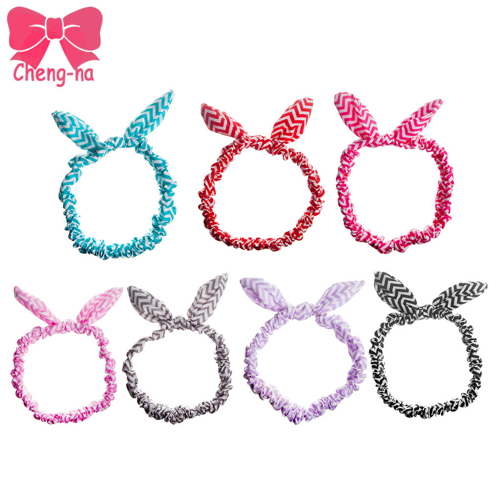 7 Colors Lovely Elastic Stretch Plain Rabbit Kids Bow Knot Handbands Chevton Satin Hairbands For Baby Hair Accessories()