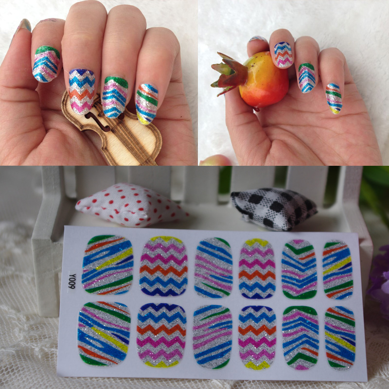 Full Nail WRAPS Art adhesive Sticker False Nails Foil decals Manicure Decor Tools Cover design colorful rainbow(China (Mainland))