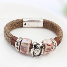Hot Sale Sweet Cute Owl Bracelet Elastic Rope Chain Double Bracelets With Crystal Stones Filled Charm Bracelets Bangle Discounts(China (Mainland))