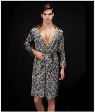 Homens camisolas da faux silk robes pijamas de cavalheiros homewear de banho masculino manga comprida de cetim sleepwear Lounges roupa de dormir