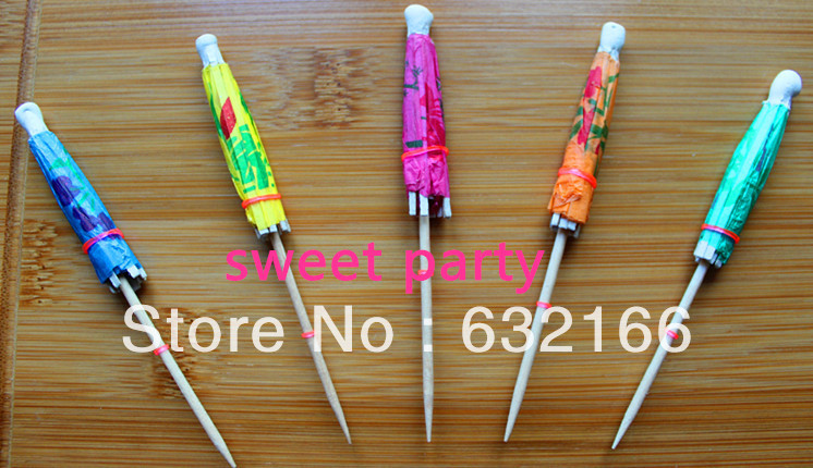 Free shipping wholesale colorful umbrella fruit toothpick cocktail 80pcs/bag,party decoration,bar products(China (Mainland))
