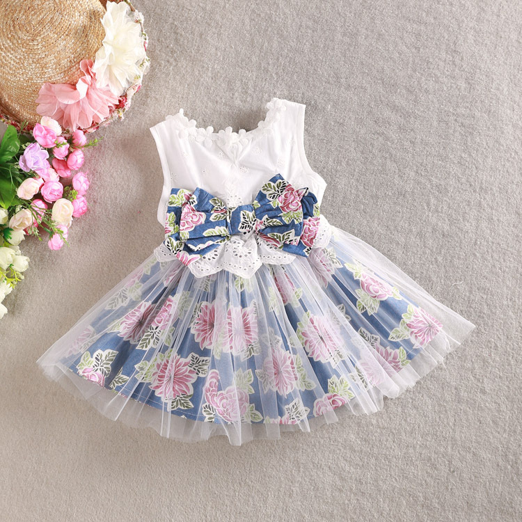 2015 Summer Kids Baby Tollder Child Girl Princess Party Wedding Prom White Denim Flower Print Big Bow Lace Tutu Dress S0140199<br><br>Aliexpress