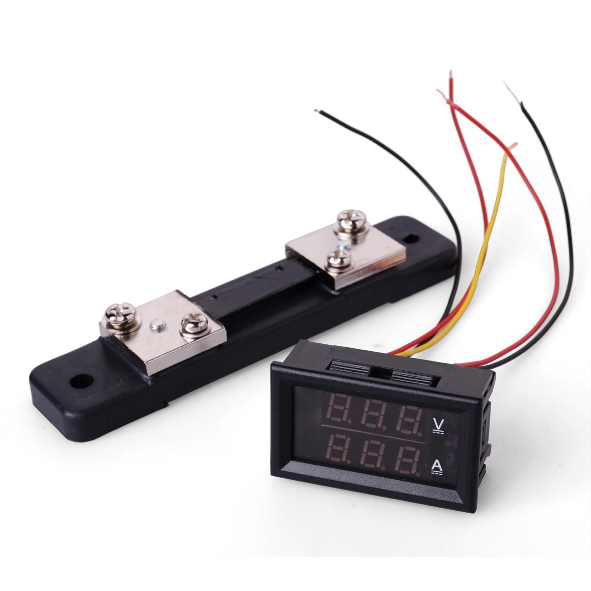 Dual LED 300V 50A Digital Voltmeter Ammeter Panel Amp Volt + Current Shunt TE072(China (Mainland))