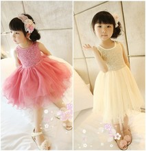 EMS DHL Free Shipping Sequin Stripe Pink/ Beige Summer sleeeveless Cute Tulle Lace party Dress New Arrival 1-6 Years(China (Mainland))