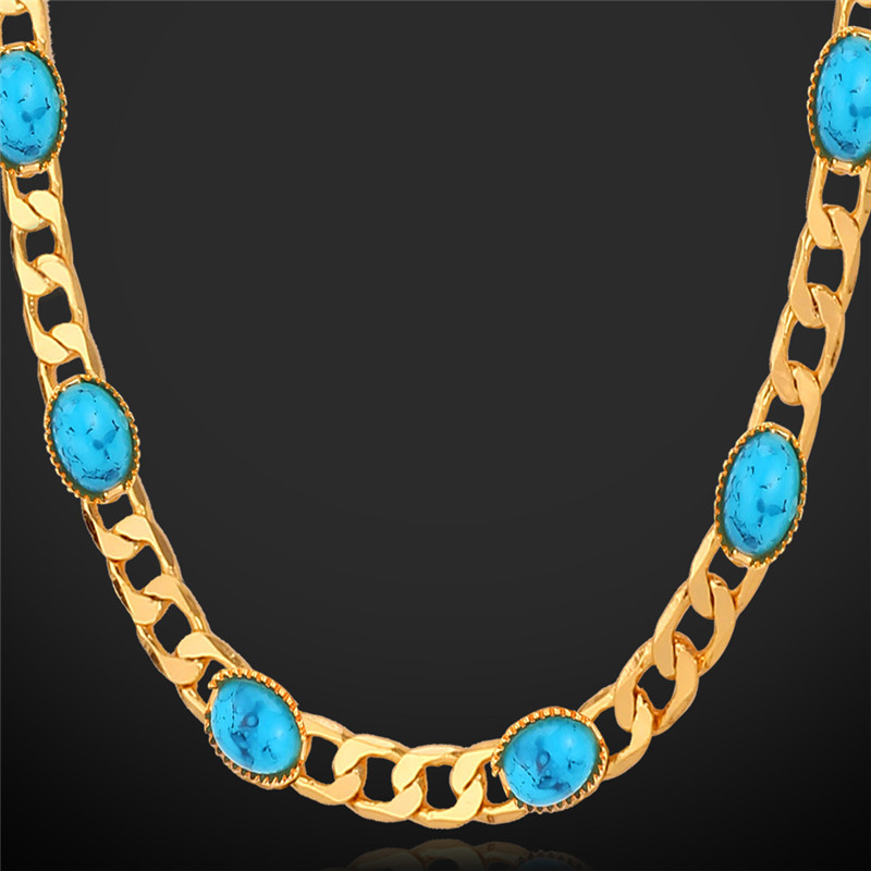 Necklaces For Women Choker 18K Real Gold Plated Turquoise Stone Necklaces 2015 Fashion Jewelry 55CM Long Vintage Necklace N101(China (Mainland))
