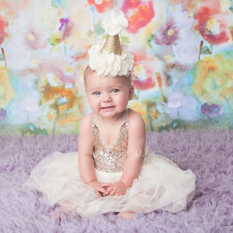 New First Birthday Crown Headband For Girls Hair Accessories Handmade Lovely Glitte Gold baby Hats with Chiffon Flowers Headband(China (Mainland))