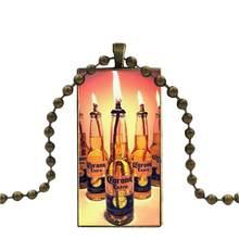 EJ Glaze naszyjnik moda długi łańcuch z prostokąt naszyjnik biżuteria dla kobiet mężczyzn prezent złoty Corona dodatkowe piwo(China)