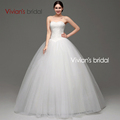 Vivian's Bridal In Stock Real Photo A-Line Scoop Neck Lace Up Sweep Train Wedding Dress With Beaded Appliques SA006