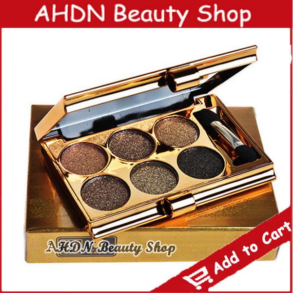 Makeup 6-color eye shadow makeup bare earth color shining eye shadow set brand make up mc sombras lot wax shadows(China (Mainland))