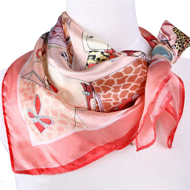 LING/Fashion Pink Printed girl/Ladies Scarves,Spring Or Fall Scarves And stoles,Satin FinishTippet,100% Silk Scarf Square/DF9021(China (Mainland))