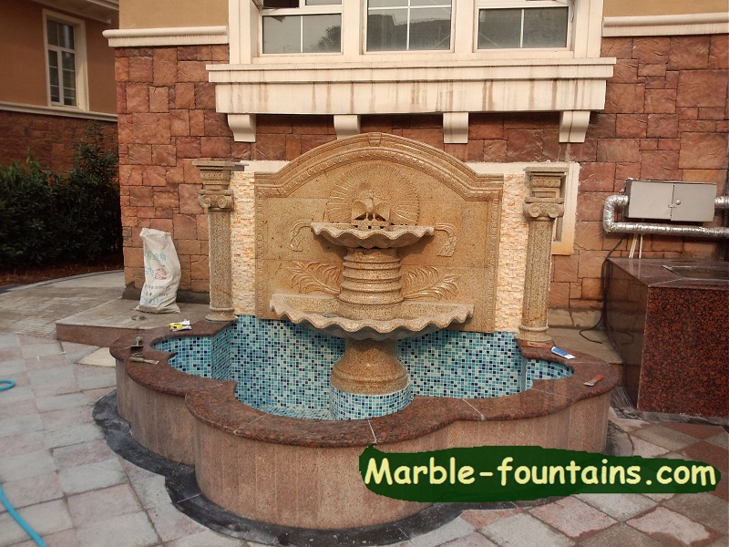Buy Outdoor Wall Water Fountains Stone Carving With Pool Surround Garden