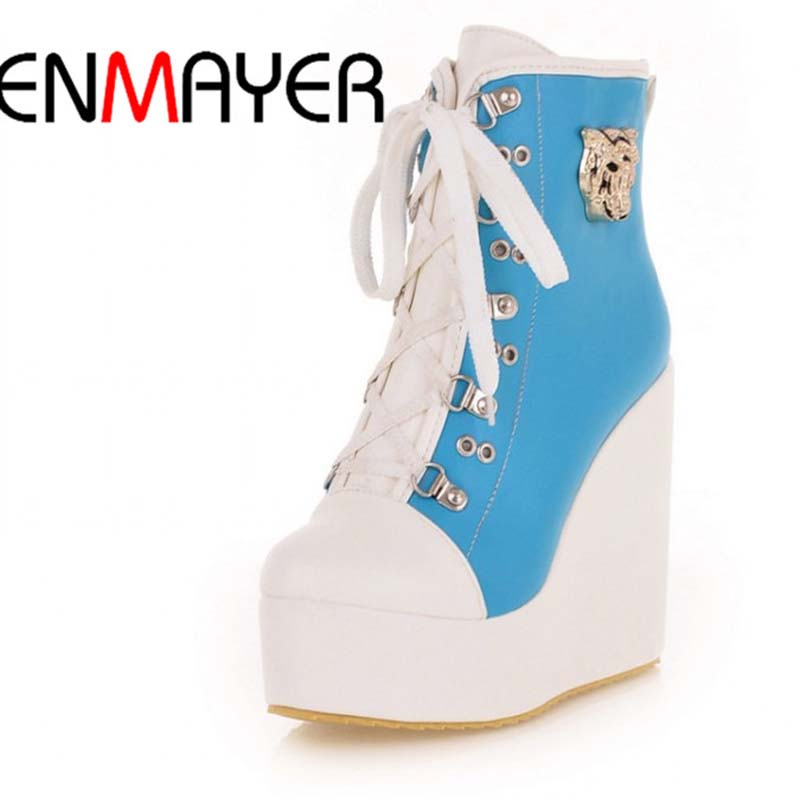 ENMAYER new 2015 winter fashion wedges Heel Lace-Up Ankle boots for women  boots Mixed Colors Martin boots big size 34-43<br><br>Aliexpress