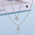 925 Sterling Silver Multilayer Necklaces Pendants For Women Cubic Rhinestones Star Necklace Jewelry Collier Kolye D79
