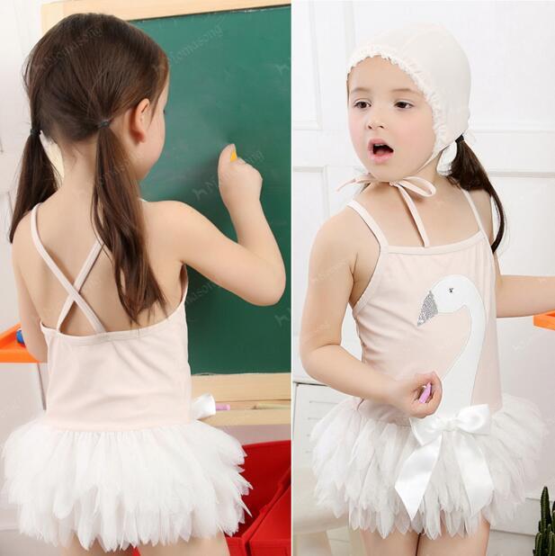 2016 New Design 1 Piece Top Quality White Swan Girls Summer Dress Mini Ball Gown Baby Girl Dress Lovely Sleeveless Kids Dress(China (Mainland))