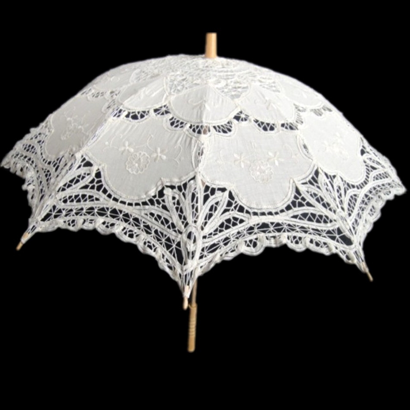 Free Shipping White Beige Color Lace Umbrella Wedding Lace Parasol Handmade With Cotton Fabric