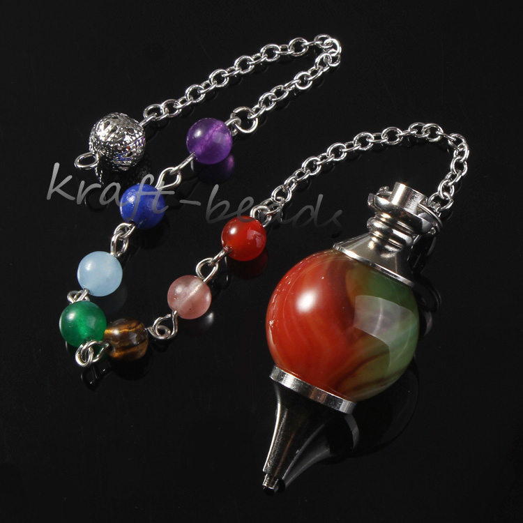 wholesale 10 Pcs Silver Plated 7 Stone Beads Chain Natural Peacock Agate Stone Chakra Healing Point Dowsing Pendulum Jewelry