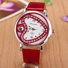 2015 nuevas mujeres del reloj del Rhinestone del cuero genuino ocasional del corazón del reloj de cuarzo mujeres viste reloj Relogio Feminino