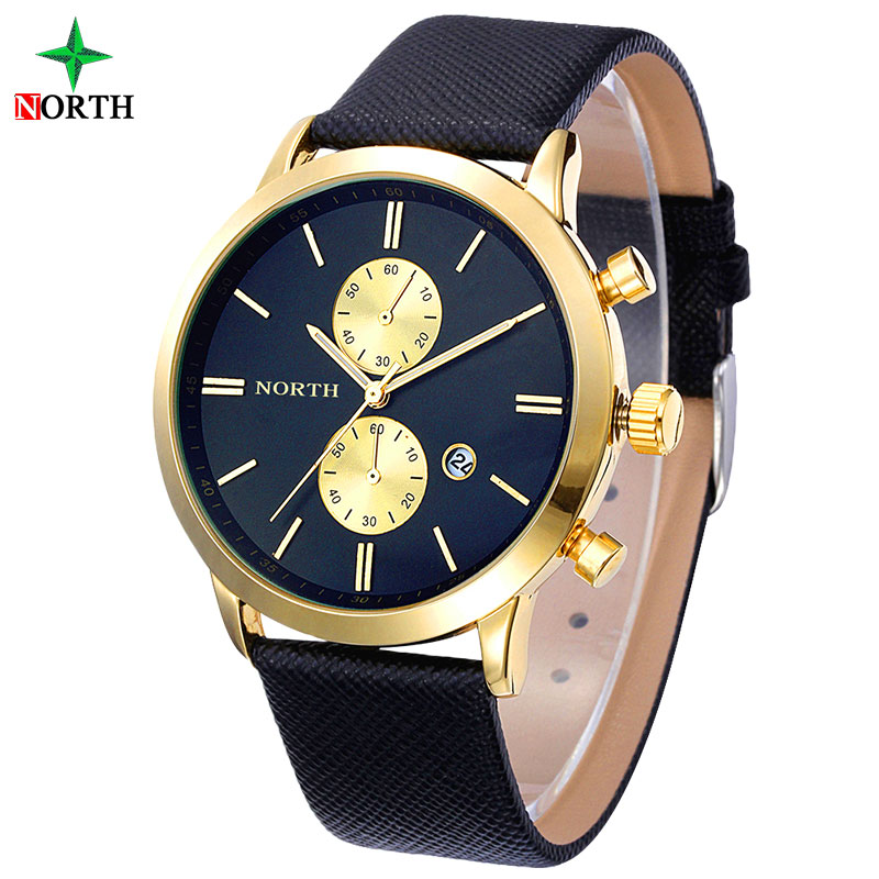 Reloj Hombre 2015 Mens Watches Top Brand Luxury Gold Watch Men Leather Fashion WristWatch Male Business
