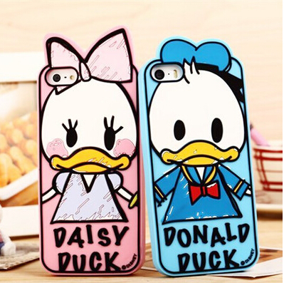 For iphone5 5S 5G Graffiti Minnie Mickey Duck rubber silicone cartoon cell phone case cover for iPhone 5 5S 5G Free Shipping(China (Mainland))