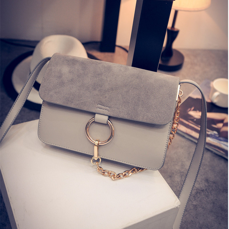 2016 Hot Sale NEW fake bag scrub women's handbag chain scrub leather shoulder bag women messenger bags 3colors(China (Mainland))