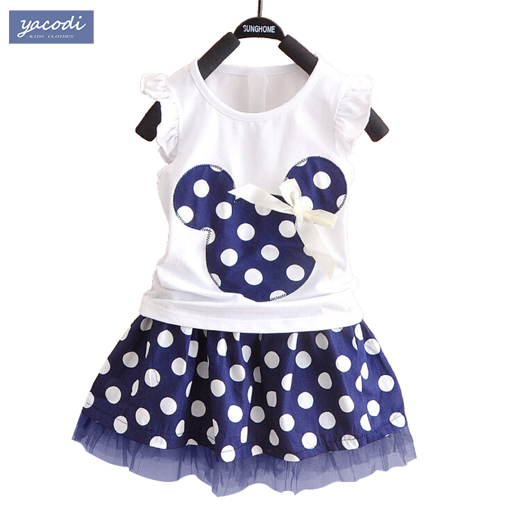 2016 korean kids clothes brands mickey minnie girls clothing sets baby girl cartoon t-shirt + dot skirt 2pcs set family clothing(China (Mainland))