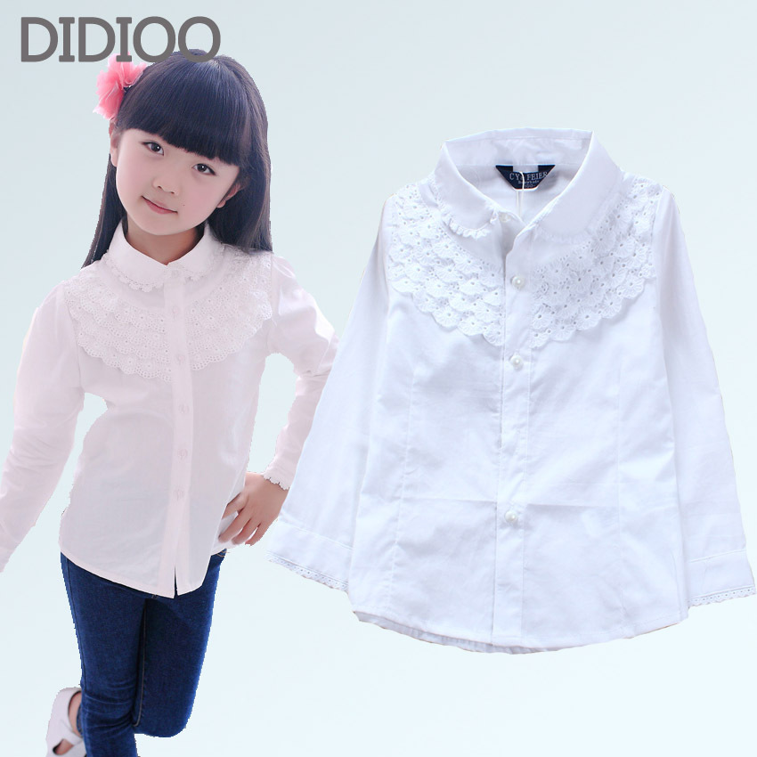 School uniform children white blouse for girls blouses cotton long sleeve girls shirts lace tun-down clollar big kids clothes(China (Mainland))