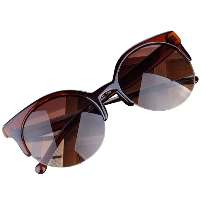 SPLENDID Fashion Vintage Sunglasses Retro Cat Eye Semi-Rim Round