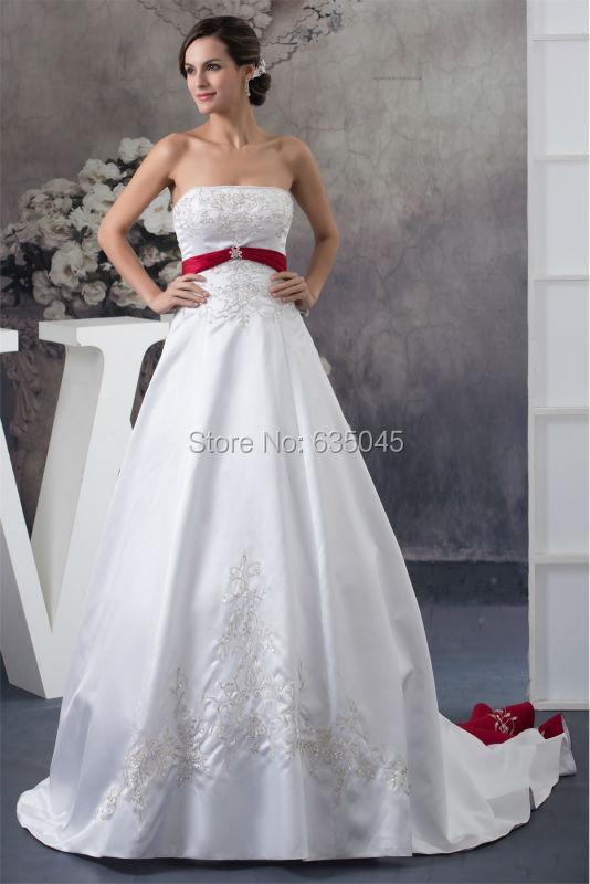 2016 New Custom Made Satin White/Ivory and Red Embroidery Beading A-Line Wedding Dresses Robe De Mariage Bridal Gowns(China (Mainland))