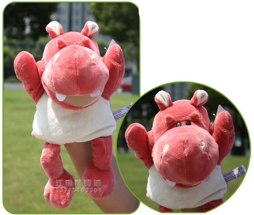 Hot sale 1pc 30cm nici creative soft pink hippo hand puppets with feet plush game story doll stuffed toy baby sleeping gift(China (Mainland))