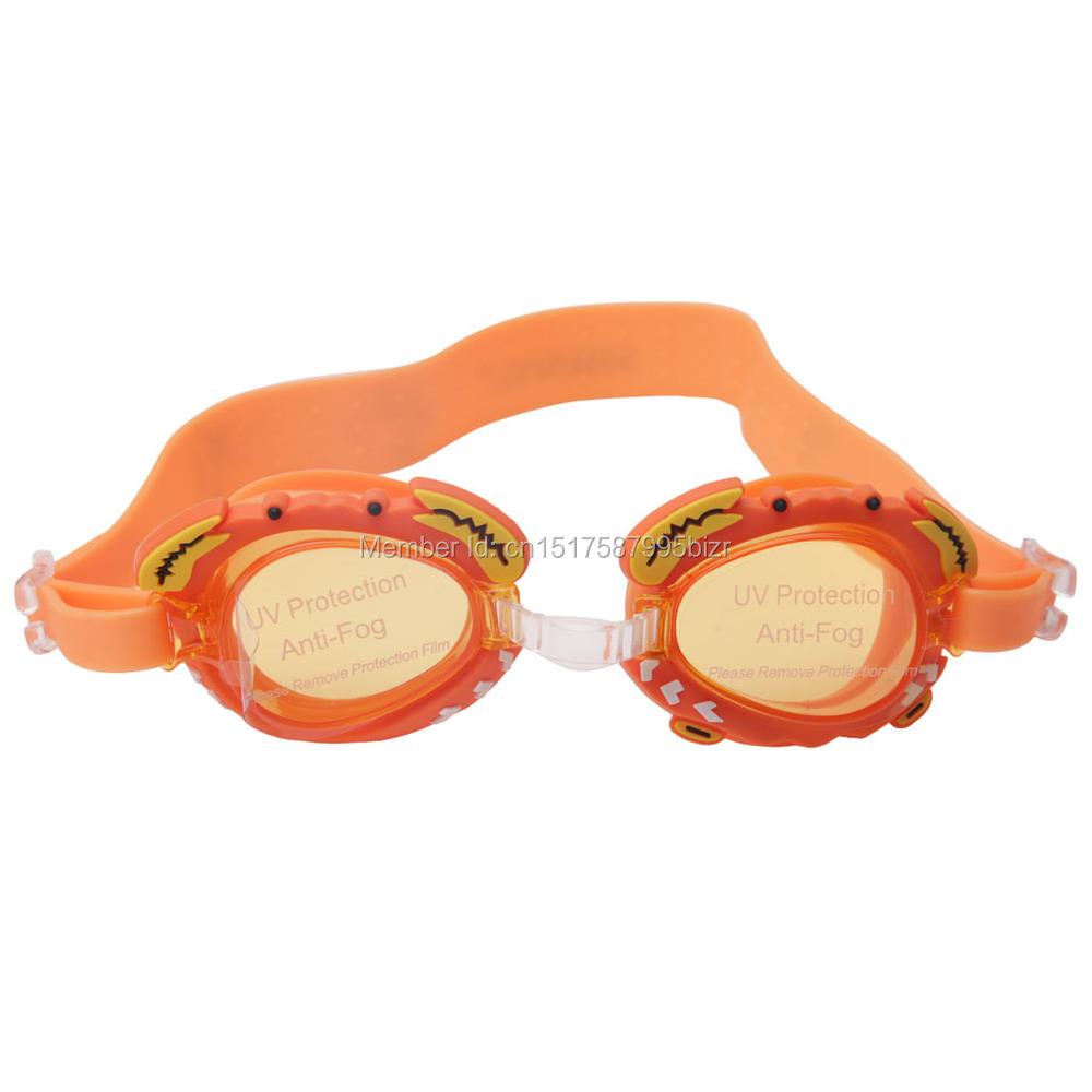 Orange color Junior Children Swim Goggles Anti-Fog UV Silicone Swim Glasses for Kids Girls Boys free shipping(China (Mainland))