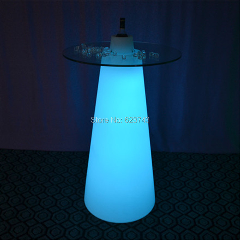H50CM Modern Plastic illuminated rechargeable remote control LED cocktail coffee linear high bar table with PEAK cone-shaped(China (Mainland))