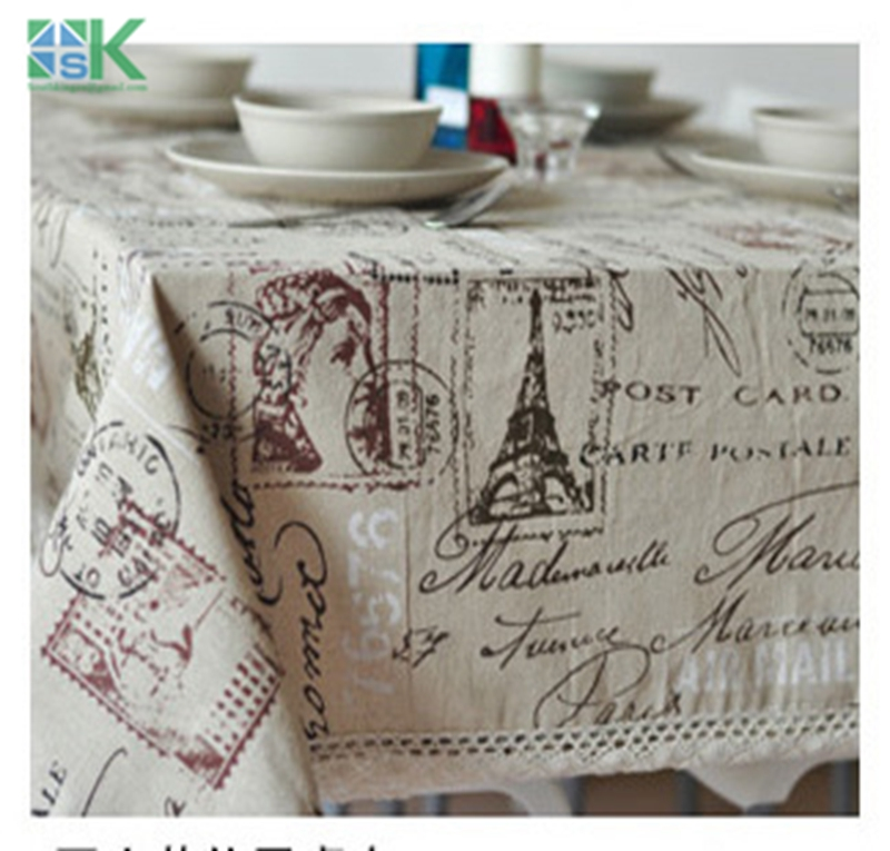 2016 new new Eiffel Tower French linen tablecloths eco-friendly tea table cloth drape universal custom table cloth , freee sh(China (Mainland))