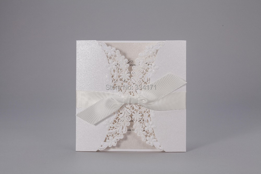 50pcs/set free envelop and free seal Elegant Embossed Flora Design Invitation With Bows PK838(China (Mainland))