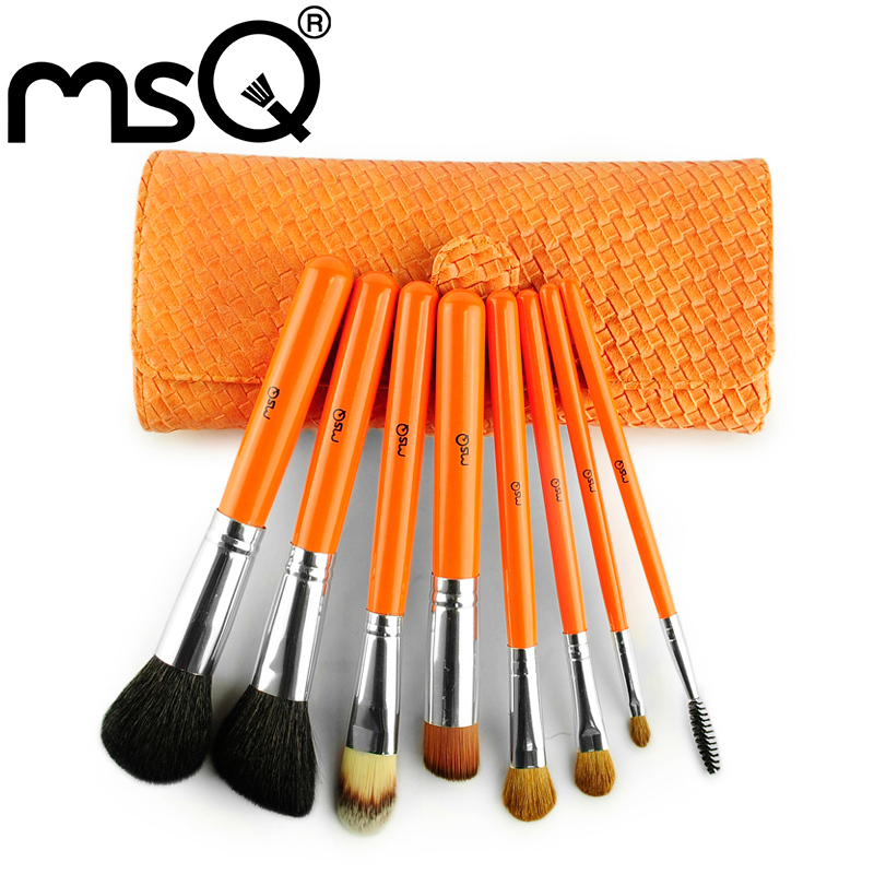 TOP Quality! MSQ 5sets/lot Professional Makeup Brush Set 8PCS Makeup Brushes Tool With Weave Leather Case<br><br>Aliexpress