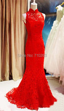 F3132 2017 Elegant Sexy Mermaid High Neck Sleeveless Floor Length Lace Evening Dresses Long Red Formal Party Prom Ball Dress(China (Mainland))