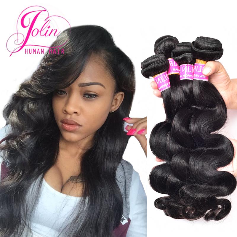 Factory 8A Grade Brazilian Body Wave 4 Bundles Virgin Hair Raw Unprocessed Brazilian Hair Weaving #1B Body Wave Human Hair Weave(China (Mainland))