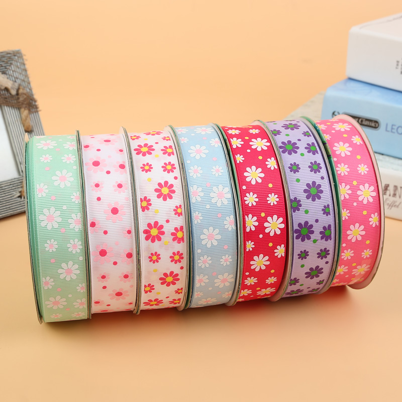 25mm 33yards/lot flower Pattern Printed Ribbon Grosgrain ribbon whole sale and OEM(China (Mainland))