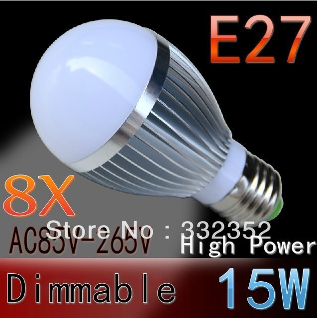 8pcs/lot FREE SHIPPING Dimmable Bubble Ball Bulb 15W E27 E14 GU10 B22  High power Globe light LED Light Bulbs Lamp Lighting