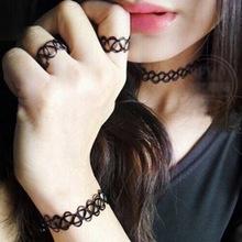 New Black Tattoo Handmade Choker Bracelets/Ring/Necklace Pendant Jewelry Sets Retro Elastic Stretch Gothic pendientes mujer moda(China (Mainland))