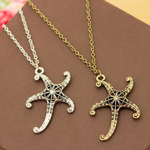 Vintage Starfish Pendant Necklace Fashion Jewelry Antique Metal Chain Link Necklaces for Women Girls