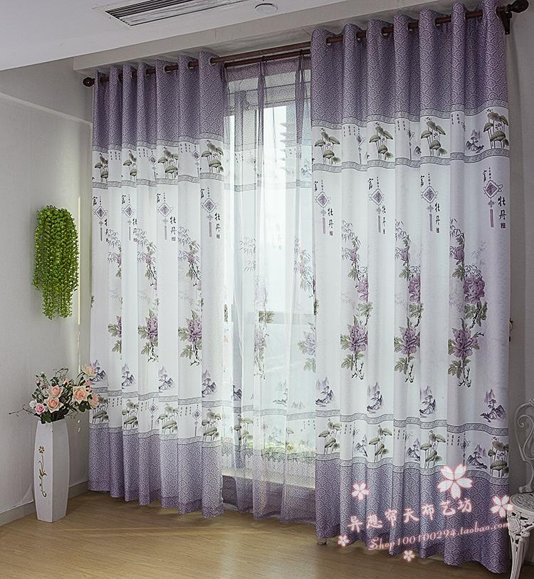 Free Shipping Cheap Price Chinese Style Printed Ready made Curtain(China (Mainland))