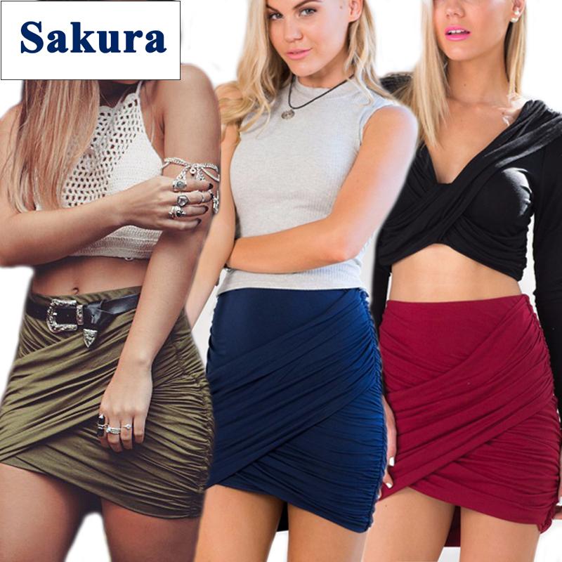 Women Fashion Stretch Waist Short Mini Skirts Sexy Pencil Clubwear Cross Fold Bandage Cotton Skirts 2015 Summer Style New CHIC!(China (Mainland))