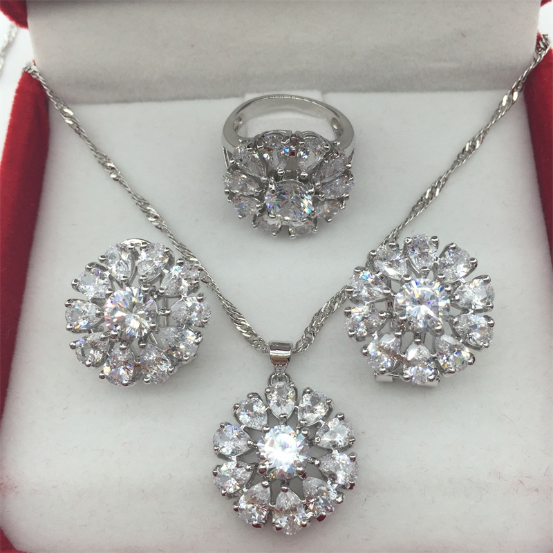 925 Sterling Silver White Jewelry Sets Flower Shaped Earrings/Pendant/Necklace/Rings 6/7/8/9 For Women Free shipping(China (Mainland))