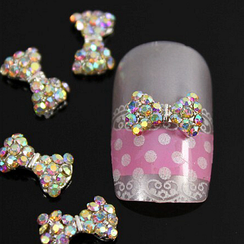 B465 10pcs/lot High Quality Colorful Bow Tie 3D Alloy Nail Art Cell Phone Sticker Decoration DIY Rhinestone Accessories(China (Mainland))
