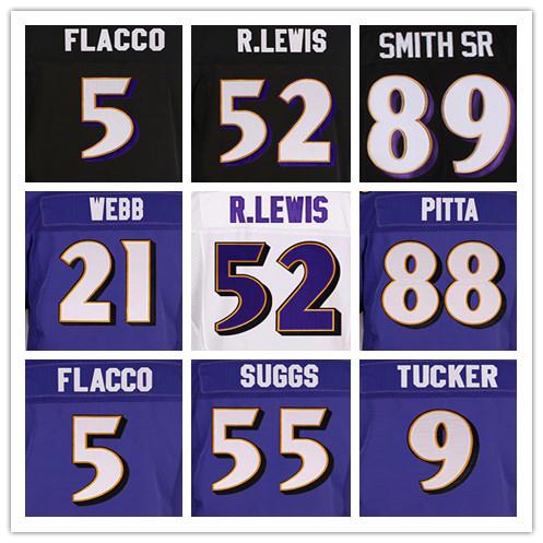 52 RAY LEWIS purple jerseys 5 JOE FLACCO black 89 STEVE SMITH SR 55TERRELL SUGGS 9 JUSTIN TUCKER 29 JUSTIN FORSETT white jersey(China (Mainland))
