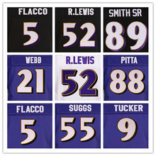 52 RAY LEWIS purple jerseys 5 JOE FLACCO black 89 STEVE SMITH SR 55TERRELL SUGGS 9 JUSTIN TUCKER 29 JUSTIN FORSETT white jersey(China (Mainland))
