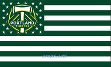 PORTLAND TIMBERS stripe Banner Bandera USA Soccer MLS Flag 3x5FT Custom Flag 90x150cm white sleeve with 2 Metal Grommets(China (Mainland))