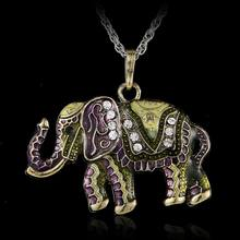 (Free chain 70-80cm) 1 pcs Fashion jewelry accessories bohemia long design vintage gem rhinestone elephant necklace pendant